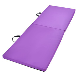 Fold yoga mat online shopping - 6x2x1 Gymnastics Mat Thick Two Folding Panel Gym Fitness Exercise Purple
