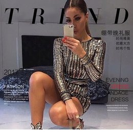 Barato Longas Sereias Douradas-2017 Gold Sexy Woman Fashion Cocktail Dresses Sequined Mermaid Nightclub apertado Long Sleeves Evening Presided Over Short Skirt Champagne Gown