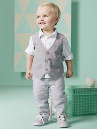 Three Piece Suit Bow Australia - 2016 New Boy Sets Long Sleeve Shirts Vest Pants 3Pcs Sets Boy Gentleman Sets baby boy waistcoat set striped three piece suit