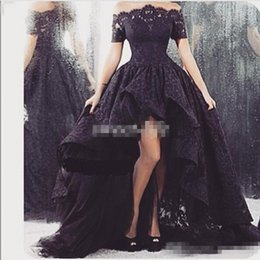 Short Red Lace Prom Vintage Dress Australia - 2016 Arabic Black Lace Prom Dresses High Low Off Shoulder with Short Sleeve Ruffle Sheer Neck Tulle Vintage Party Gowns Formal Evening Dress