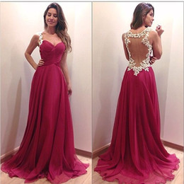 Barato Caixilhos De Vinho-2016 Wine Red Prom Querida Lace apliques oco Sexy Back Varrer Vestidos Train Chiffon Evening