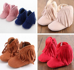 baby moccs tassel Canada - Moccasin Moccs Newborn Baby Girl Boy Kids Tassel Prewalker Solid Fringe Shoes Infant Toddler Soft Soled Anti-slip Boots Booties