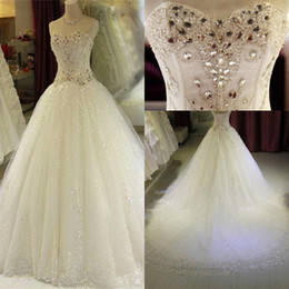 Abiti da sposa Sweetheart di cristallo strass 2018 Luxury A Line Lace Paillettes Corsetto Back Abiti da sposa Custom Made