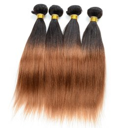 "human weaving hair sale bundles Australia - Unprocessed Ombre Hair Bundles 3Pcs Lot 10""-30"" Silky Straight Ombre Human Hair Weave Colored Two Tone 1B 30 Hair Extensions Hot Sale"