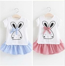 korean fashion party short dress Canada - New 2016 Fashion Korean Children rabbit Summer dress Baby Girls short sleeve Sweet Elegant Princess party Dresses one piece dresses