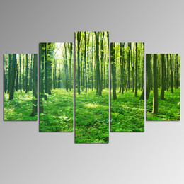 $enCountryForm.capitalKeyWord Canada - Forest Landscape Paintings Art On Canvas Dropship Print 5 Panel Home Decoration Wall Hanging For Living Room And Bedroom Decor Unframed