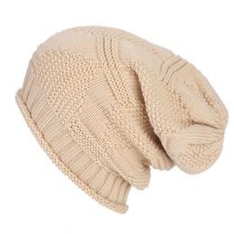 $enCountryForm.capitalKeyWord Australia - Fashion Winter Fall Unisex Baggy Beanie Knit Crochet Slouchy Warm Cap Men Women Oversized Striped Ski Hat For Outdoor Sports