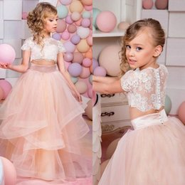 Les Jeunes Filles S'habillent Pas Cher-Populaire Deux Pieces Fleur Filles 2016 Ivoire et Blush Pink Girls robes Pageant for Teens Illusion dentelle Top Tulle Jupe Manches courtes