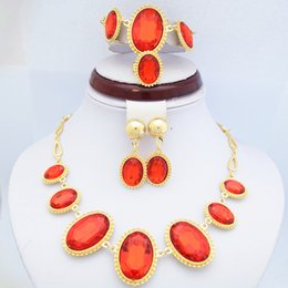 China Gold Set Canada - 18K Yellow Gold Plated Ruby Stone Jewelry Sets Elegant Red Rhinestone Wedding Necklace, Bracelet, Earrings and Ring Jewelry Sets 720