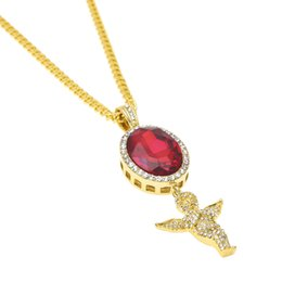 Mens ruby jewelry nz buy new mens ruby jewelry online from best mens hip hop red blue black gem angel pendant necklace set gold color micro ruby necklaces women rhinestone charm rapper jewelry gift mozeypictures Choice Image