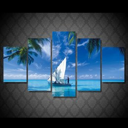 $enCountryForm.capitalKeyWord NZ - 5 Pcs Set Framed Printed Blue Sky Boat Painting Canvas Print room decor print poster picture canvas Free shipping ny-5019