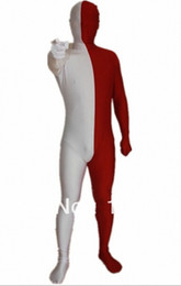 $enCountryForm.capitalKeyWord Australia - White and red half combinations Full bodysuit zentai Unisex Lycra Spandex Zentai Body Suit Fancy Dress