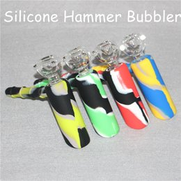 bubbler water pipe hammer NZ - 100% Real Image Silicone Bongs Water Pipes hammer bongs percolator bubbler Oil Rigs Glass Bongs pipes tobacco pipe recycler