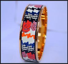 $enCountryForm.capitalKeyWord NZ - Rose Series 18K gold-plated enamel bangle bracelet for woman Top quality bracelets bangles width 20mm Fashion jewelry
