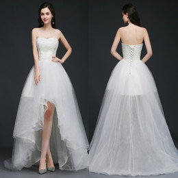 Barato Marfim Casamento Vestidos Ocidentais-New Arrival Ivory High Low Wedding Dresses para Western Country Summer Beach Garden Casamentos A Line Bead Strapless Corset Back CPS758