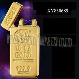 $enCountryForm.capitalKeyWord Canada - Electronic Lighters Luxury gold USB Rechargeable No Flame Lighter & Smoking Accessory Windproof double arc lighter