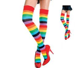 4077d5753 thigh high socks stockings 2016 brand hot Rainbow stripe Colorful High Thigh  Ladies Long Women over the knee Socks Stripey Stocking
