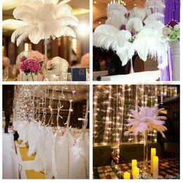 Performance Tables Australia - 50 Piece Lot White Ostrich Feathers For Wedding Supplies Table Centerpieces Party Decoraction Performance Props Supply 25-35CM Colors Mixed