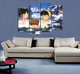 $enCountryForm.capitalKeyWord Australia - 4pcs set Wall Art Picture:Japanese Anime Inuyasha Peeping Hot Springs Spray Painting on Canvas UnframedPrint Wholesale Home Decor