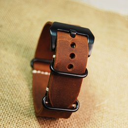 nato leather strap NZ - Wholesale-New replacement for Garmin Fenix 3 Watch Band Strap crazy horse leather nato