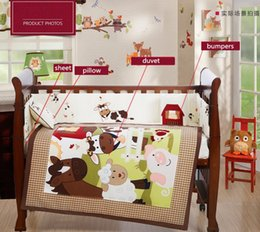 Bedding Sets For Babies Canada - 4PCS Embroidery crib sheet baby bedding set cot bedding set for baby cot cuna baby bumper ,include(bumper+duvet+sheet+pillow)