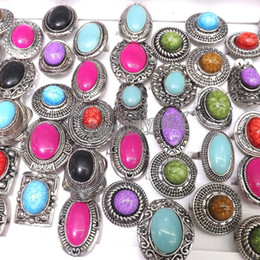 $enCountryForm.capitalKeyWord Canada - Adjustable Silver Tone Rings Mixed Shape Retro Imitation Gemstone Rings 50pcs Lot Wholesale