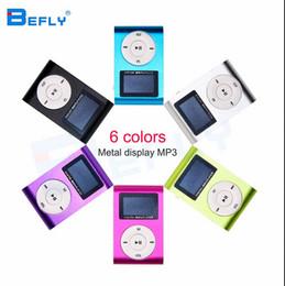 Hot marcação Mini USB Clipe MP3 Player Tela LCD Suporte 32 GB Micro SD Cartão TF Digital Mp3 players Vem com Fone De Ouvido Cabo USB venda por atacado