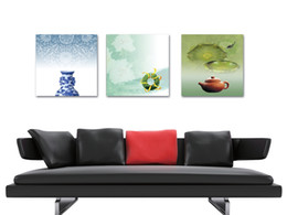 $enCountryForm.capitalKeyWord Canada - unframed 3 Pieces picture free shipping Canvas Prints Porcelain vase Jade teapot Wooden boat Lotus leaf chinese characters shrimp waterfall