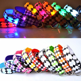 Wholesale Lattice Pattern Pet Leashes Adjustable Polyester Fiber Puppy Necklet LED Light Up Dog Collars Glowing In The Dark gr B