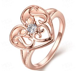 $enCountryForm.capitalKeyWord Canada - Free Shipping Wholesale Rose Gold Plating Lover Jewelry Heart Shape Ring for Woman Anniversary Gift Wedding Engagement Adjustable Fine Rings