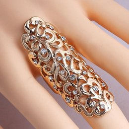 Hollow Fingers Canada - Free Shipping Vintage Hollow Engraving Flower Pattern Knuckle Ring Gold Silver Plated Punk Full Finger Ring for Women