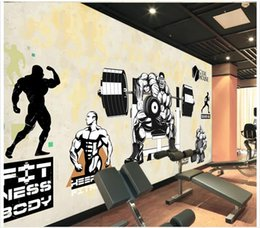 wall puzzle Australia - High end Custom 3d photo wallpaper murals wall paper Muscle Male Beauty Dumbbell Puzzle 3D living room wallpaper background wall home decor
