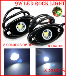 "Wholesale Trailer Lights Australia - 20PCS 10 Pair 3"" 9W 3x3W Cre LED Rock Light Offroad SUV ATV 4x4 Truck Trailer Fender Rig Underbody Puddle Light 800lm White  Red  Blue  G Y"