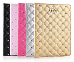 Fashion Phone Case Rhinestones NZ - Factory Price!!! For iPad mini cases ipad2 3 4 Phone pouch Rhinestone Crown rivet Smart Cover with stand shockproof Dormancy pc+pu leather