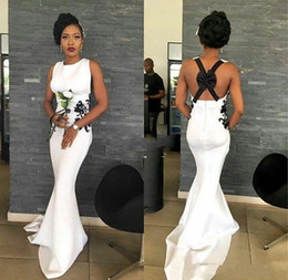 Discount women s dresses size 14 Sexy Long Bridesmaid Dresses 2019 Cheap White Dress with Black Lace Cross Back Bow Lace Mermaid Satin Women Wedding Guest Evening Gowns