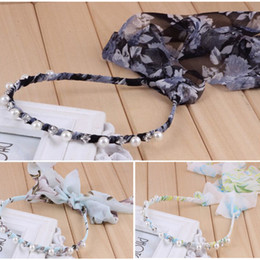 pearl bow headband Canada - Korean Hairband Chiffon print Pearl Headbands Bohemia Bow Ribbon Hair Accessories Long Scarves Bandeaus Hair Bands Handmade