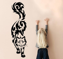 Cartoon Nature Australia - Art design Cat Wall Sticker home decor vinyl Cartoon cats Wall Decals removable animal decals for kids room free shipping