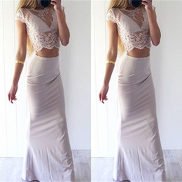 two piece prom dresses jersey 2019 - Sexy Glamorous Short Sleeves Lace Sheer Prom Dresses New Two Pieces Illusion Look Sheath Formal Evening Party Celebrity