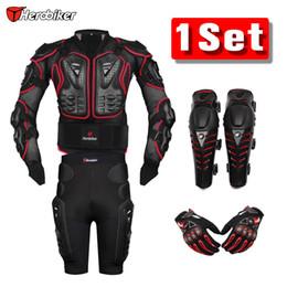 $enCountryForm.capitalKeyWord NZ - Herobiker Red Motorcross Racing Motorcycle Body Armor Protective Jacket +Gears Short Pants +Protective Motorcycle Knee Pad +Gloves