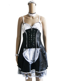 Sexy Adult Woman Costumes Canada - New Arrival Sexy Maid Halloween Cosplay Costume Black Spaghetti Strap Satin Maid Uniform for Adult Women Lace-Up Fancy Dress W2012