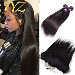 4pcs bundles closure online shopping - 3Pcs Peruvian Virgin Hair Straight With Lace Frontal Straight Virgin Hair Lace Frontal Closure With Bundles Human Hair