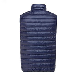 Barato Casacos Com Zíper Duplo-Outono inverno Men's Ultra Light Down Double Sided Zipper Puff Gilet Coletes Casacos Chalê Winter Jackets 5 cores