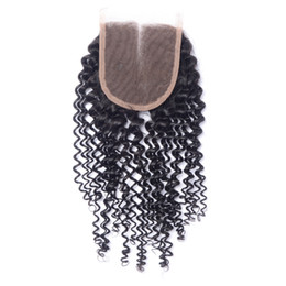 China Cheap Virgin Kinky Curly Closure 4X4 Peruvian Curly Human Hair Lace Closure Bleached Knot Free MIiddle 3 Part Closure supplier virgin kinky curly closure suppliers