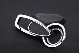 $enCountryForm.capitalKeyWord NZ - Business Men Genuine Leather Keychain Double Loops Stainless Steel Car Keyring Tool Key Waist Belt Clip Holder Key Car Keychain B599Q