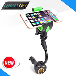 car phone holder cigarette lighter NZ - Car Phone Charger Holder with Dual USB Charger & Cigarette Lighter Stand Holder for iPhone Samsung Galaxy Note etc. 3.5-6.3""