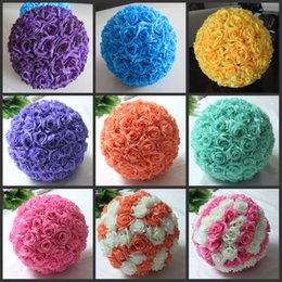 Red Hanging Flowers Canada - Free shipping 12 Inch 30cm Artificial Rose balls Silk Flower Kissing Balls Hanging rose Balls Christmas Ornaments Wedding Party Decorations
