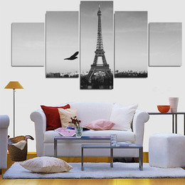 piece canvas eiffel tower 2019 - 5 Pieces Modern Home Decor Picture Painting Black and White Eiffel Tower Home Art Picture Modular picture Pictures cheap