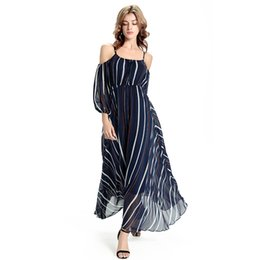 Robe Longue Décontractée Bohème D'été Pas Cher-2016 Sexy Off the Shoulder Long Sleeves Chiffon Long Bohemian Dress Black and Stripes Robe de soirée longue pour femme FS0269
