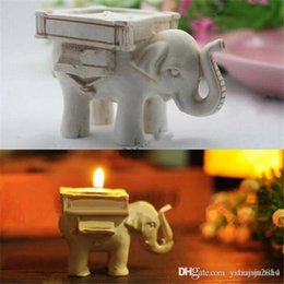 Mariage Favorise Les Bougies Nouvelles Pas Cher-Nouvelle arrivée 200pcs / lot Lucky Elephant Antique-Ivory Candle and Card Holder Wedding Favors and Baby Gifts