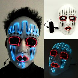Halloween Costume Birthday Party Canada - LED Halloween Masks EL Wire Glowing Mask Masquerade Birthday party Carnival Cosplay Full Face Masks Halloween Costumes Party Gift WX9-59
